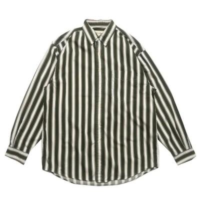 エディバウアー コットン ボタンダウン シャツ ストライプ 柄 グリーン サイズ表記: M