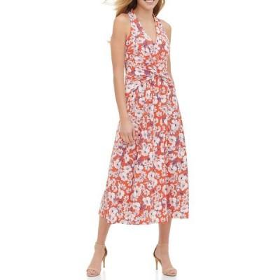 トミー ヒルフィガー レディース ワンピース トップス Sleeveless Midi Jersey Floral Print Dress GRNDN/PK C