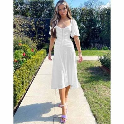 エイソス レディース ワンピース トップス ASOS DESIGN puff sleeve ruched eyelet midi skater dress in white White