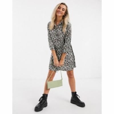 ジェイディーワイ JDY レディース ワンピース 七分袖 シャツワンピース Philippa 3/4 Sleeve Shirt Dress In Black Floral Print ブラッ