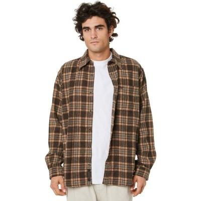 デウス エクス マキナ Deus ex machina メンズ シャツ ネルシャツ トップス Allan Flannel Shirt Choc brown