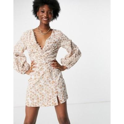 バードット レディース ワンピース トップス Bardot balloon sleeve button detail mini dress with split in mixed floral print