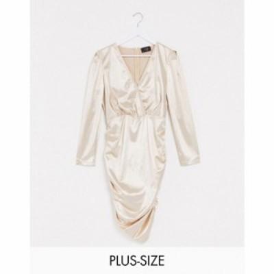 アックスパリス AX Paris Plus レディース ワンピース ラップドレス ミニ丈 ワンピース・ドレス satin mini wrap dress in champagne シ