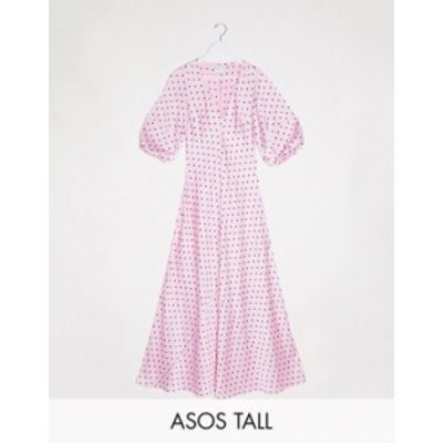 エイソス レディース ワンピース トップス ASOS DESIGN Tall satin trapeze maxi dress with puff sleeves in spot Pink/black spot