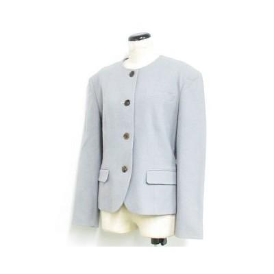 【中古】ヨンドシー 4℃ ジャケット 長袖 ノーカラー ウール グレー ※NK-20985 ※01 レディース 【ベクトル 古着】