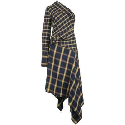 モンス ワンピース デイドレス レディース Monse check pattern asymmetric dress Blue ,Yellow