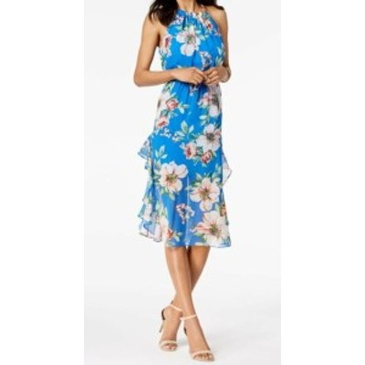 Vince ヴィンス ファッション ドレス Vince Camuto Womens Dress Blue Size 14 Maxi Halter Floral Print Chiffon