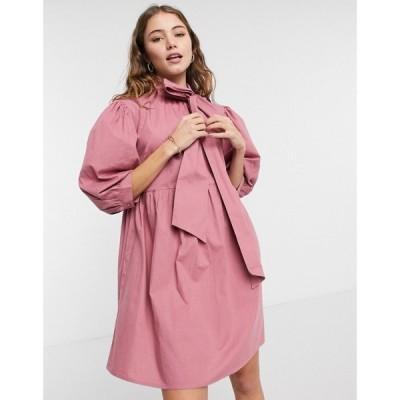 インフルエンス Influence レディース ワンピース ミニ丈 ワンピース・ドレス Bow Neck Mini Smock Dress In Pink ピンク