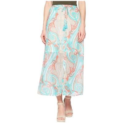 トリバル Tribal レディース ロング・マキシ丈スカート スカート Printed 37 Pull-On Maxi Skirt with Tassel Coral