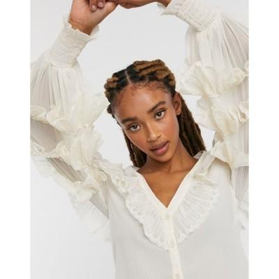 エイソス レディース シャツ トップス ASOS DESIGN ruffle lace blouse in cream Cream
