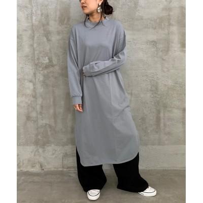 モックネックロング丈ワンピース (ワンピース)Dress