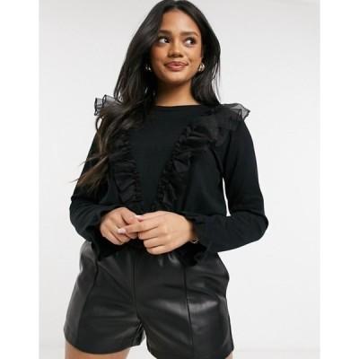 キューイーディーロンドン レディース ニット・セーター アウター QED London frilled mesh detail sweater in black