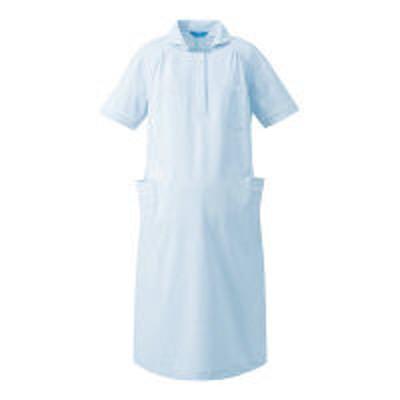 KAZENKAZEN マタニティワンピース半袖 医療白衣 サックスxホワイト M 176-21(直送品)