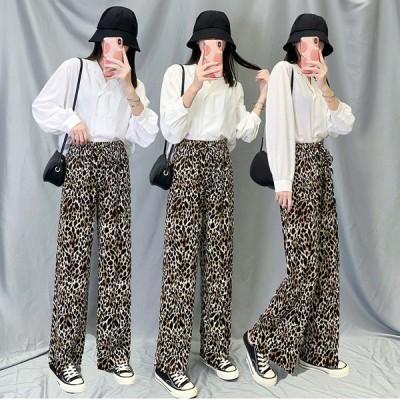 韓国ファッションワイドパンツ  レディース 秋冬 50代 40代 30代 20代 春夏 ロング ボトムス  プリーツ ストレート おしゃれ  豹柄 部屋着 スウェット