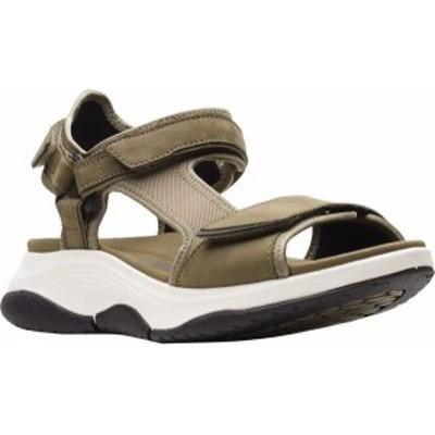 クラークス レディース サンダル シューズ Women's Clarks Wave2.0 Skip Wedge Active Sandal Olive Textile/Nubuck Combination