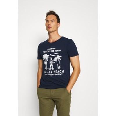 トムテイラーデニム メンズ Tシャツ トップス Print T-shirt - agate stone blue agate stone blue