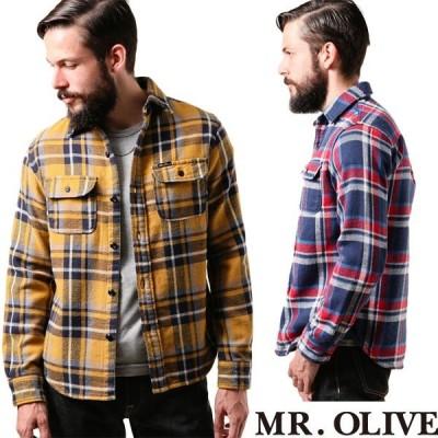 【MR.OLIVE ミスターオリーブ】ヘビー ネル チェック / カウボーイ ワークシャツ M-6406/ mrolive チェックシャツ
