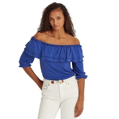 ラルフローレン カットソー トップス レディース Floral Linen Jersey Off-the-Shoulder Top Soft Sapphire