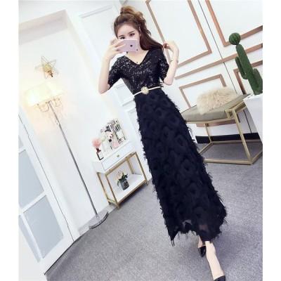 春 3カラー ドレス ワンピース スパンコール×フェザー セクシー 半袖