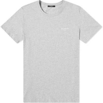 バルマン Balmain メンズ Tシャツ ロゴTシャツ トップス Eco Small Logo Printed Tee Grey/White