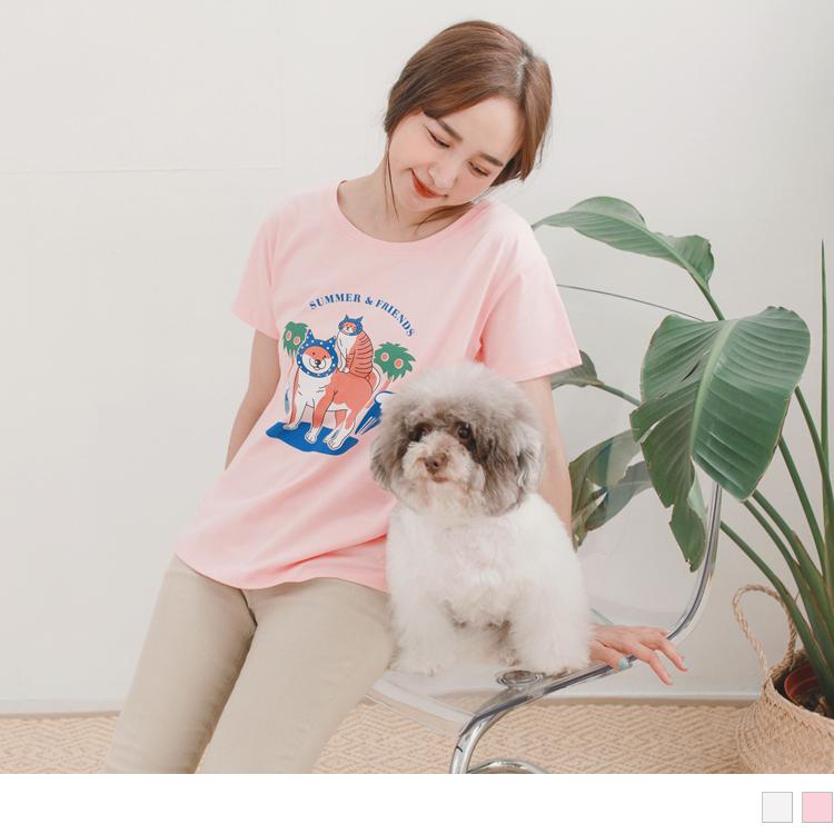 夏日氛圍動物party印圖高含棉短袖T恤/上衣