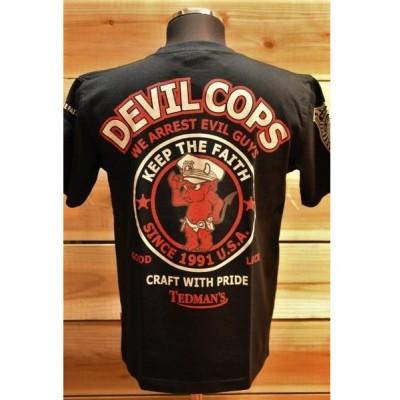 テッドマン TEDMAN テッドマンセール 20%オフ TDSS-442 Tシャツ デビルコップス 半袖Tシャツ 警官柄 ブラック