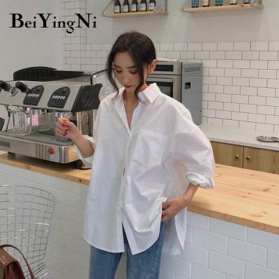 Beiyingni 春 秋 女性 シャツ ホワイト プレーン ルーズ ブラウス トップス 韓国 ポケット シンプル ファッション