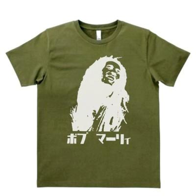 音楽・バンド・ロック・シネマ  Tシャツ ボブ マーリー カタカナ カーキー MLサイズ