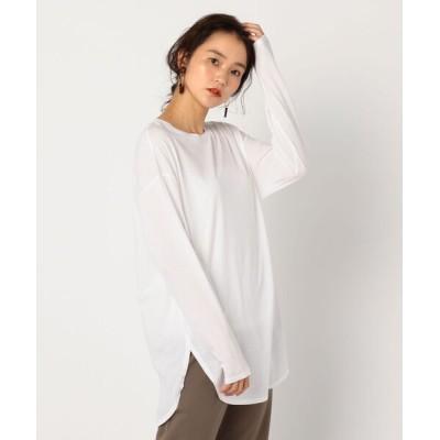 NOLLEY'S / アルビニ天竺ラウンドロングTシャツ WOMEN トップス > Tシャツ/カットソー