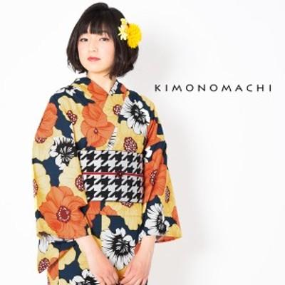 京都きもの町 オリジナル 浴衣 レディース ポリエステル浴衣 女性浴衣単品 ゆかた 「ネイビー ポピー」吸水速乾 CoolPass