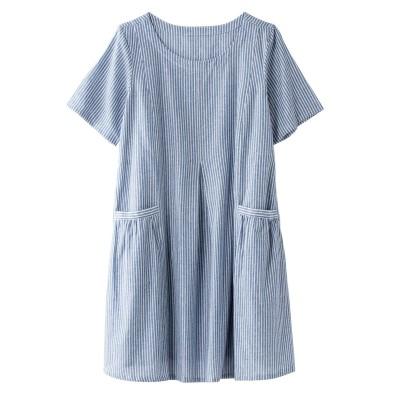 【大きいサイズ】 綿100%ストライプチュニック plus size tops, テレワーク, 在宅, リモート
