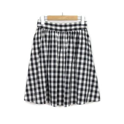 【中古】フリーズマート Free's Mart スカート フレア ギンガムチェック コットン M 黒 ブラック 白 ホワイト レディース 【ベクトル 古着】