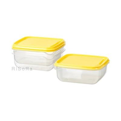 IKEA イケア PRUTA プルータ 保存容器 透明/イエロー フードキーパー 0.6L 保存容器 食品保存 キッチン 輸入