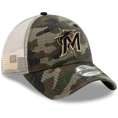 ユニセックス スポーツリーグ メジャーリーグ Miami Marlins New Era Honor Trucker 9TWENTY Adjustable Hat - Camo - OSFA 帽子