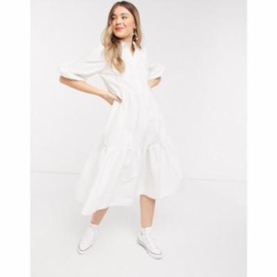 エイソス ASOS DESIGN レディース ワンピース シャツワンピース ティアードドレス cotton poplin tiered midi shirt dress in white ホワ