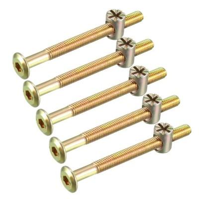 uxcell 家具ボルトナット M6x70mm 六角穴付ボルト バレルナッツ プラスマイナス 亜鉛めっき 58mmスレッド長さ 5セット入り