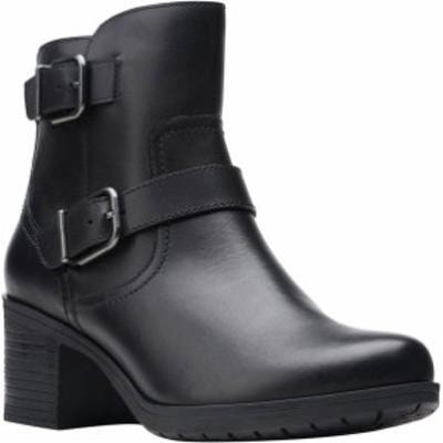 クラークス レディース ブーツ・レインブーツ シューズ Women's Clarks Hollis Sonar Ankle Bootie Black Full Grain Leather