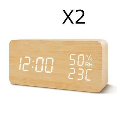 置き時計 デジタル LED表示 覚まし時計 大音量 温湿度計 カレンダー アラーム 木製 おしゃれ 振動/音感センサー 輝度調節 (茶・白字)