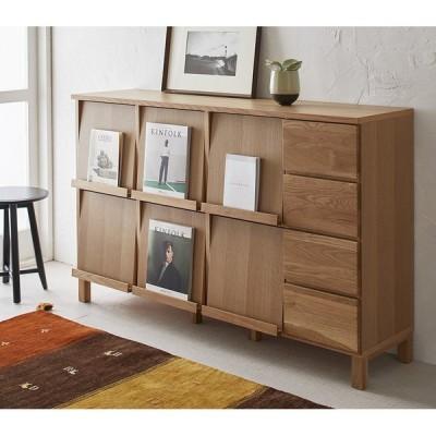 家具 収納 本棚 ラック シェルフ 書棚 ブックシェルフ Lecce/レッチェ フラップ扉リビングボード 幅143cm(オーク) H88806