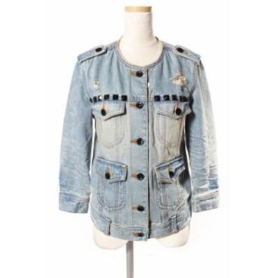 【中古】ダブルスタンダードクロージング ダブスタ DOUBLE STANDARD CLOTHING スタッズ装飾 ノーカラー デニムジャケット
