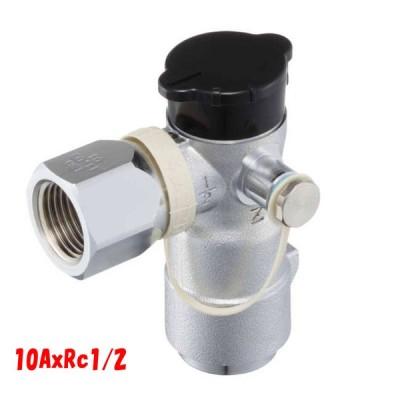都市ガス 機器接続 ガス栓 フレキ 可とう管 コック 末端ガス栓 光陽産業 L型 検査口付 G333 SP5  10AxRc1/2 10Aフレキ プッシュインパクト継手付