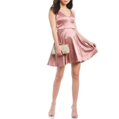 シークインハーツ レディース ワンピース トップス Spaghetti Strap Satin Fit & Flare Dress
