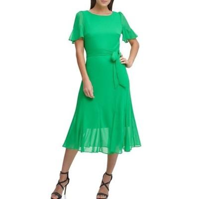 ダナ キャラン ニューヨーク レディース ワンピース トップス Flutter Sleeve Jewel Neck Chiffon Blouson Midi Dress Apple Green