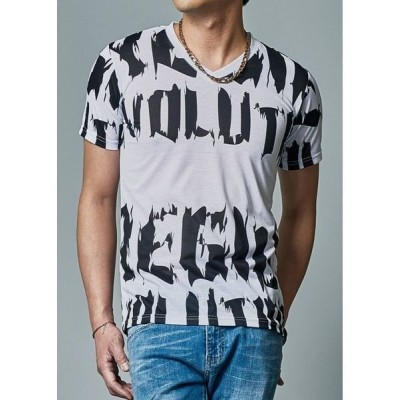 tシャツ Tシャツ 【REGIEVO】ロゴプリント半袖VネックTシャツ