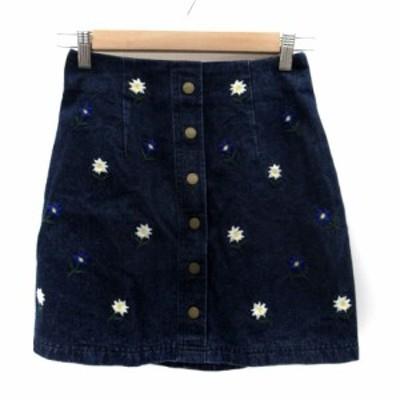【中古】レディアゼル REDYAZEL スカート 台形 ミニ丈 ボタンダウン 刺繍 S 紺 ネイビー /HO16 レディース