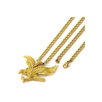 """チェーン ネックレス アメリカン ジュエリー ヒップホップ MenGold Tone Stainless Steel Open Wing Eagle Pendant 4mm24"""" Cuban Necklace Chain"""