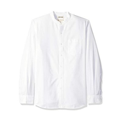 Goodthreads (グッドスレッズ) メンズ スタンダードフィット 長袖 バンドカラー オックスフォードシャツ ホワイト L