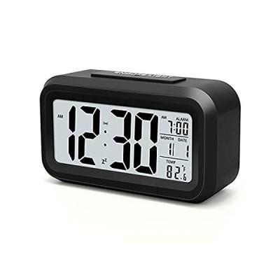 デジタル目覚まし時計 電池式 小型デスク時計 スマートナイトライト付き 日付 屋内温度用 寝室用LCD電子時計
