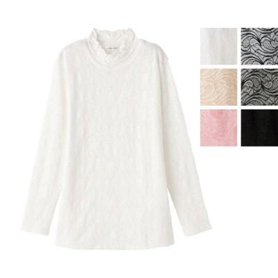 綿混レースジャカードTシャツ 98190 ケアファッション