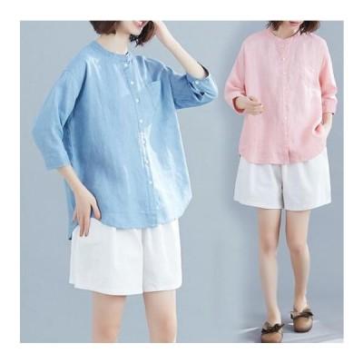 レディースリネン七分袖ブラウスTシャツシンプルエレガント無地薄手ホワイト縦ボタン着やすい